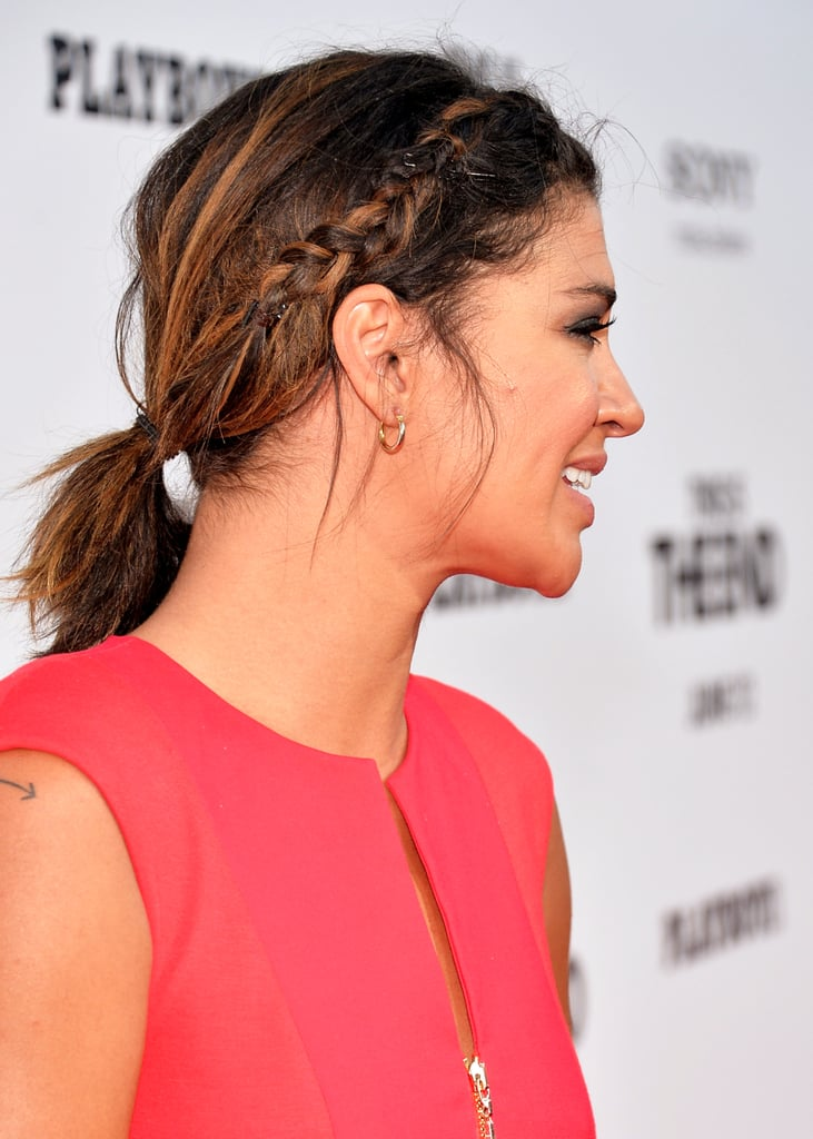 Jessica Szohr wore a hairline braid that was pulled back into a messy pony, a fresh look for a picnic or day lounging by the pool.