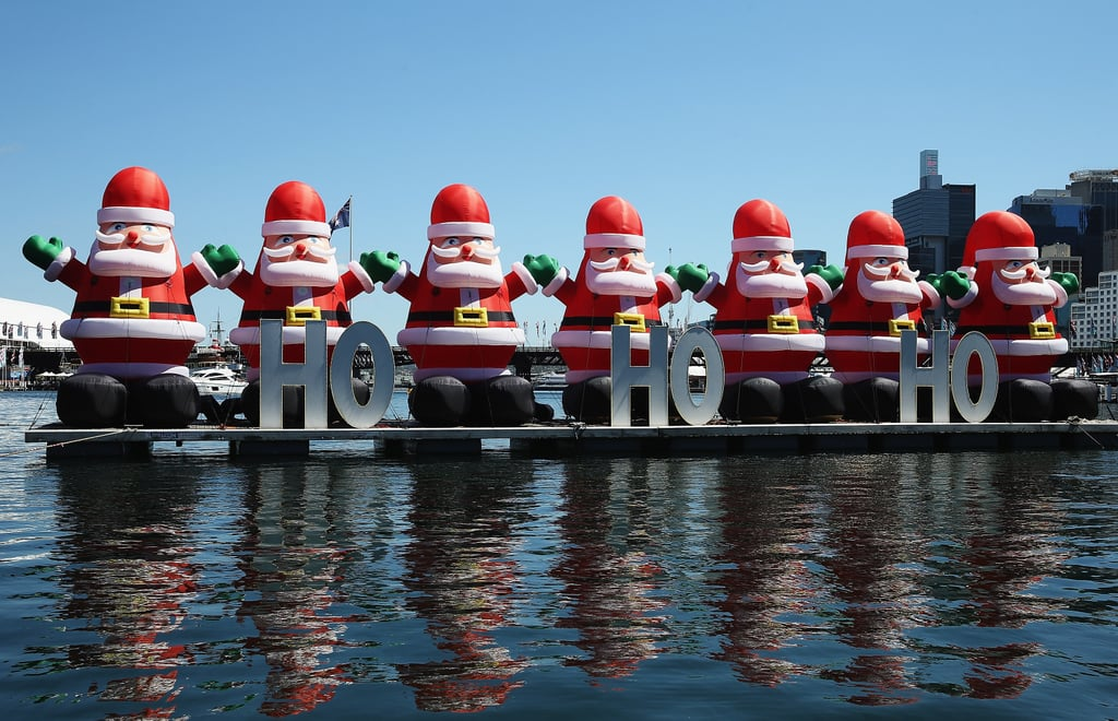 Christmas decorations were displayed on the water in Sydney, Australia.