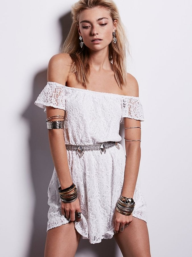 Free People Maya White Lace Off-the-Shoulder Dress