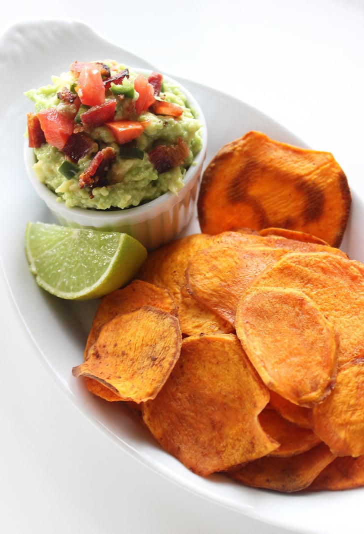 Baked Sweet Potato Crisps With Bacon Guacamole | Turn Your High ...