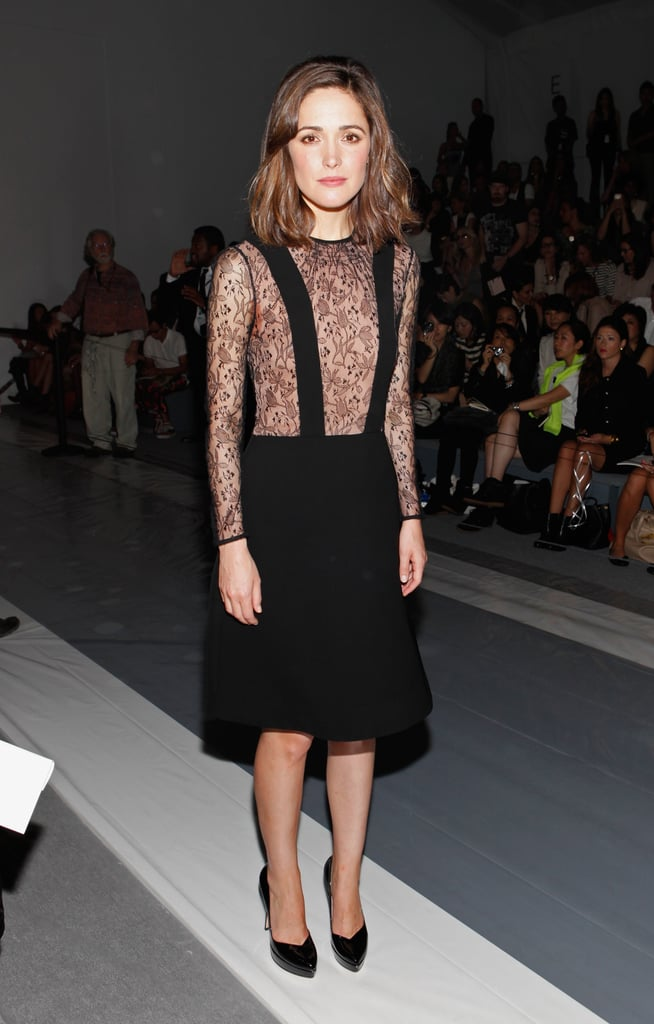 Rose Byrne started off the glamour early at Jill Stuart's morning runway show — a lace-infused black dress with black pumps did the trick.