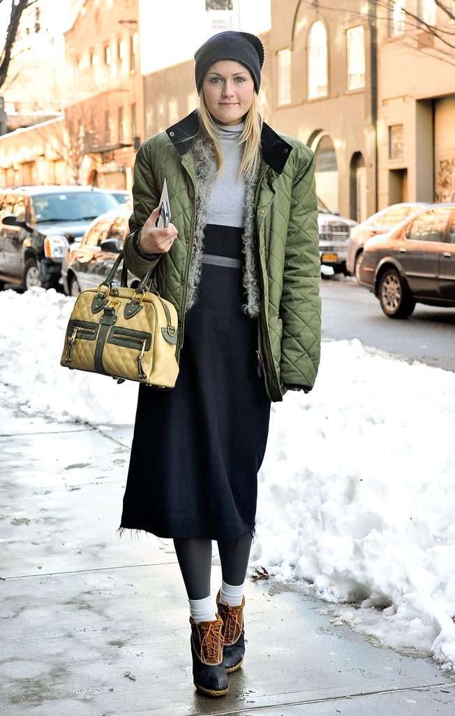 Teen Vogue's Mary Kate Steinmiller was well-dressed for the elements, but still with that stylish twist — like heels on her duck boots.