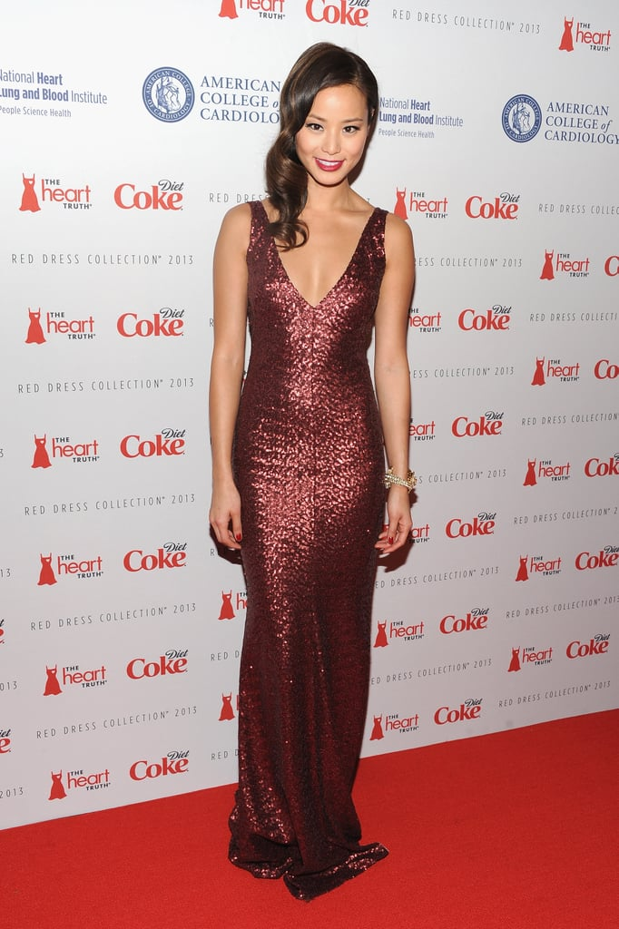 Jamie Chung chose a garnet sequined goddess gown by designer David Meister for the Heart Truth collection.