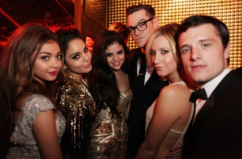 Selena Gomez poses with a group of young Hollywood stars at a Golden Globes afterparty, including Josh Hutcherson, Ashley Tisdale, and Selena's Spring Breakers co-star Vanessa Hudgens.