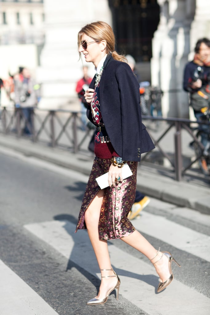 Sarah Ruston strikes again, this time with a high-impact print tempered with a staple blazer. Source: Le 21ème | Adam Katz Sinding