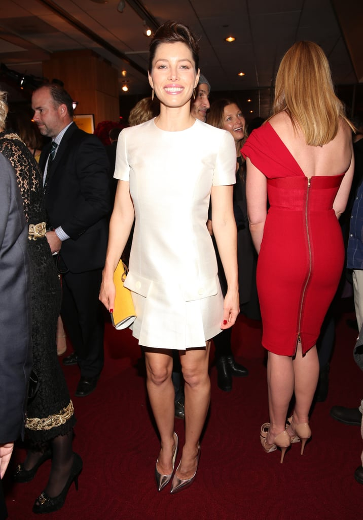 Jessica Biel changed into a short white dress for the afterparty of the Hitchcock premiere in LA.