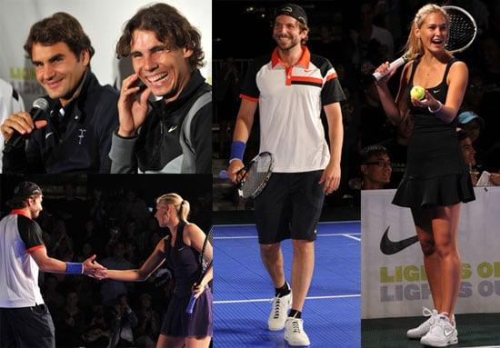 Pictures of Roger Federer, Bar Refaeli, Bradley Cooper, and Rafael Nadal at Knockout Tennis Tournament