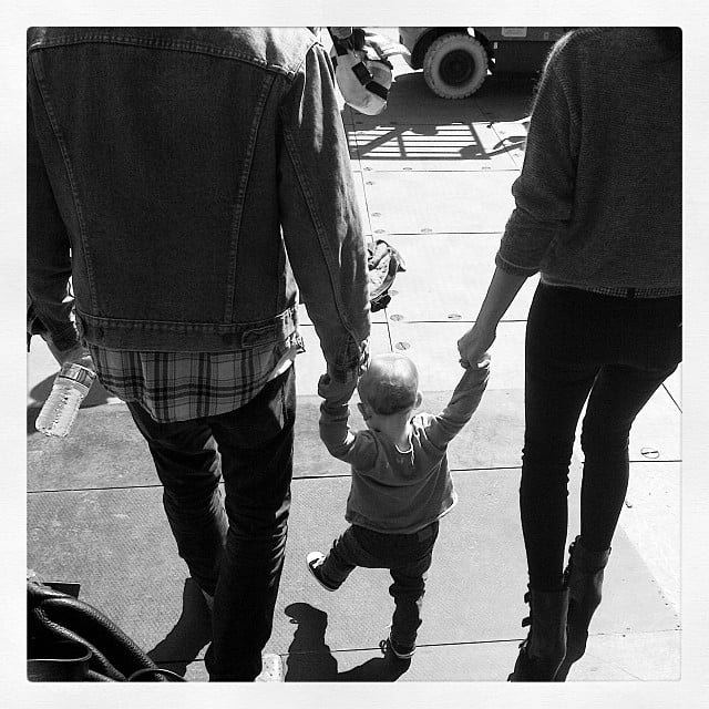 Lily Aldridge and her husband, Caleb Followill, went for a walk with their little girl, Dixie. Source: Instagram user lilyaldridge