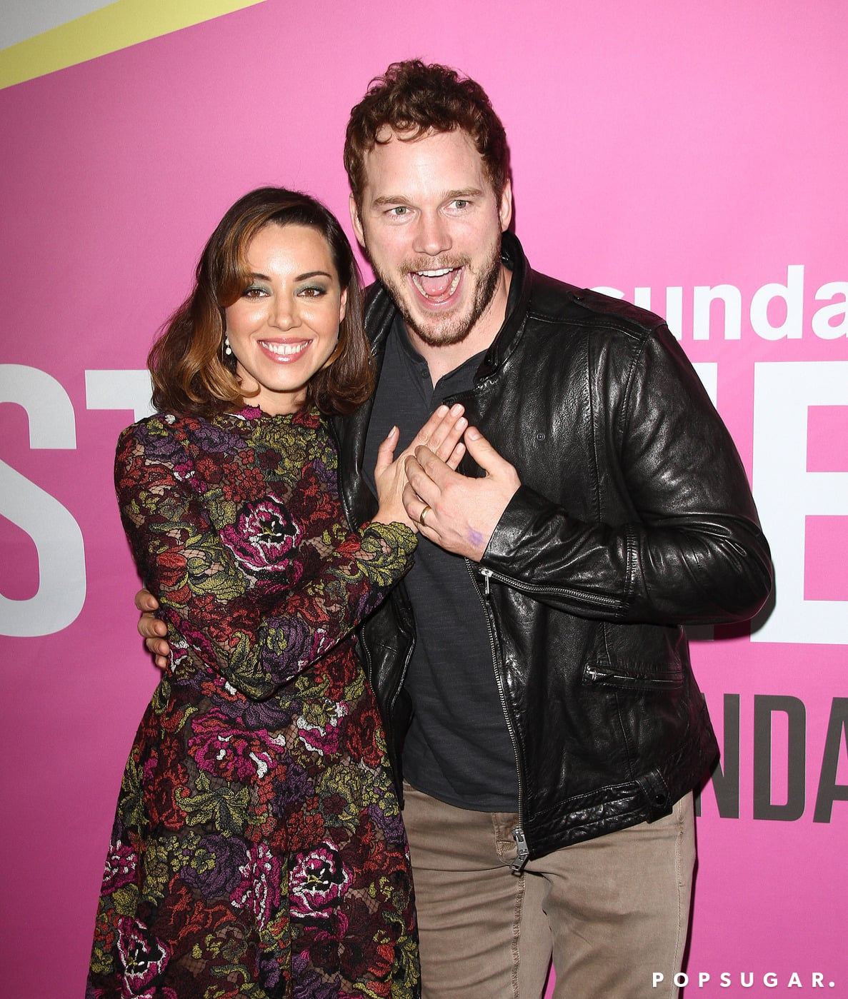 Chris Pratt got silly and sweet with his Parks and Recreation costar Aubrey Plaza at the Life After Beth premiere in LA on Friday.