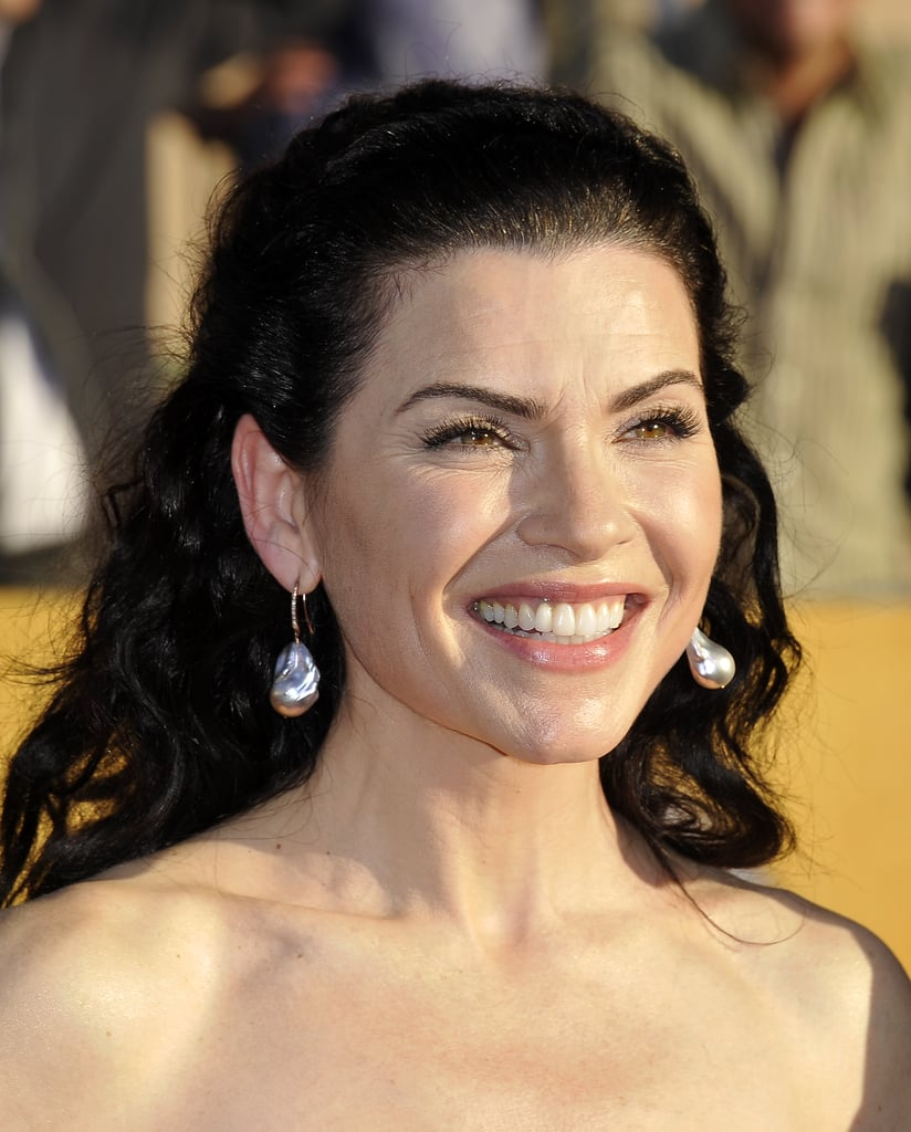 Julianna Margulies in a white gown at the SAGs.