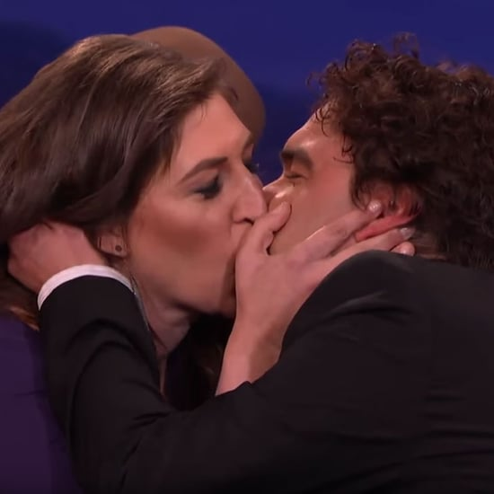 Mayim Bialik and Johnny Galecki Kiss on Conan 2016