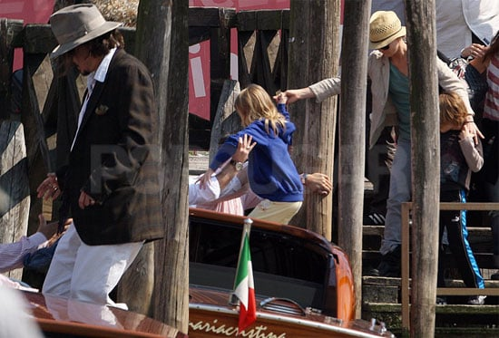 Pictures of Johnny Depp With Vanessa Paradis, Jack Depp And Lily-Rose Depp in Venice