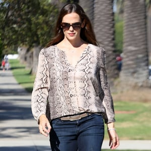 Jennifer Garner Wearing Snake-Print Blouse