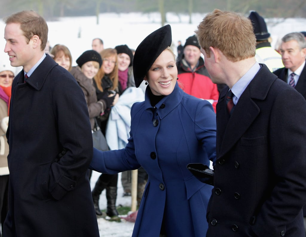 Zara and her cousins William and Harry attended Christmas services in 2009.