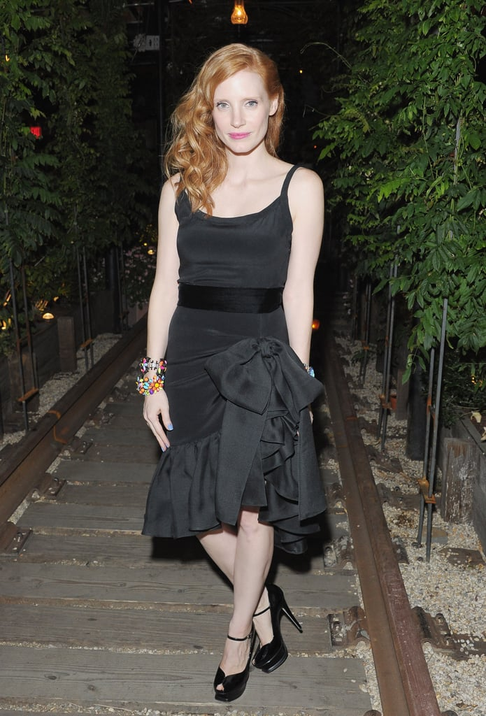 Jessica Chastain cut a fine figure as she arrived at the after party for The Cinema Society & Manifesto Yves Saint Laurent screening of Lawless in NYC on August 13.