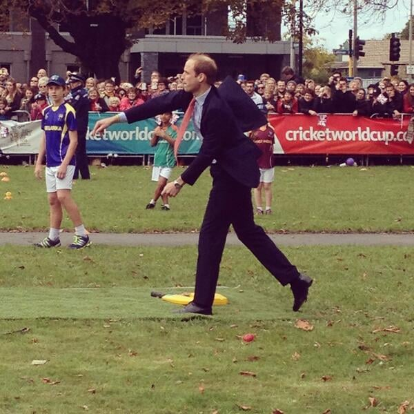 William threw a cricket ball during an appearance in New Zealand. Source: Twitter user GovGeneralNZ