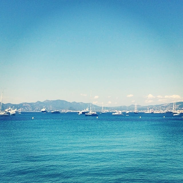 Boats and yachts circled Cannes the morning we took this photo of the impossibly blue ocean and sky above.