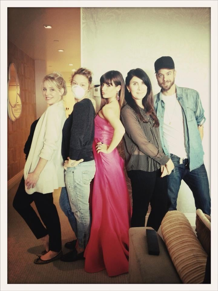 Lea Michele posed with her red carpet team. Source: Twitter user msleamichele