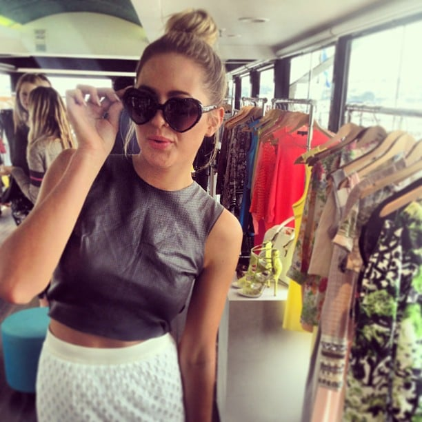 Jesinta Campbell tried on a cute pair of heart-shaped sunnies at the launch of Rihanna's River Island collection in Sydney. Source: Instagram user jesinta_campbell