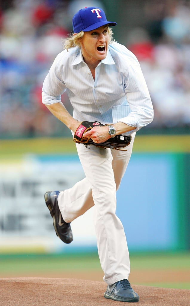 Owen Wilson packed the heat on his pitch for the Texas Rangers in July 2005.
