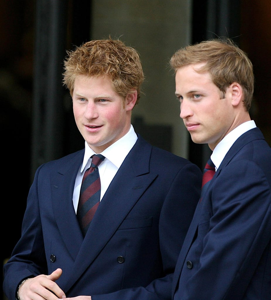 The royal brothers greeted guests as they arrived for the Service of Thanksgiving for the life of Princess Diana in London in August 2007.