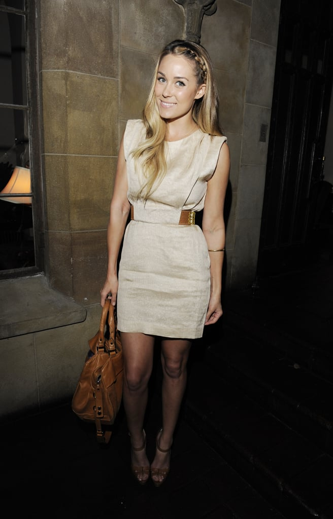 Lauren sticks to a neutral colour palette in a 3.1 Phillip Lim dress at Shopbop's Trend Dinner in April.