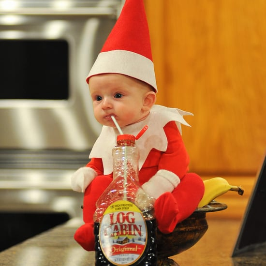 Dad Dresses Baby as Elf on the Shelf