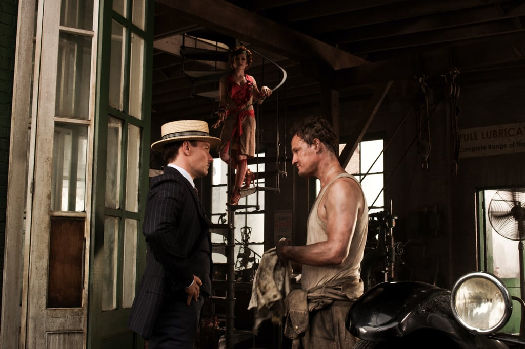 Leonardo DiCaprio as Jay Gatsby and Jason Clarke as George Wilson in The Great Gatsby.