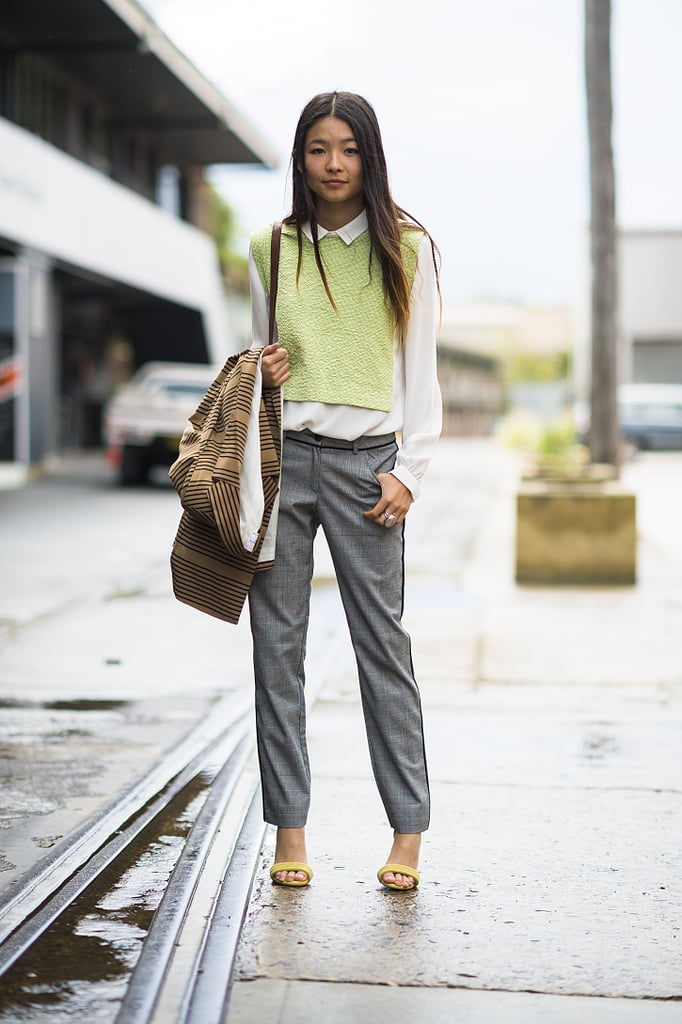 Add a little extra warmth to a white button-down and trousers (perfect for work!) with a knit vest. Source: Le 21ème   Adam Katz Sinding