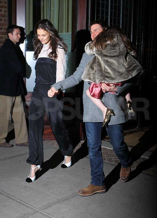 Tom Cruise and Katie Holmes smiled while celebrating Katie's 33rd birthday with Suri Cruise.