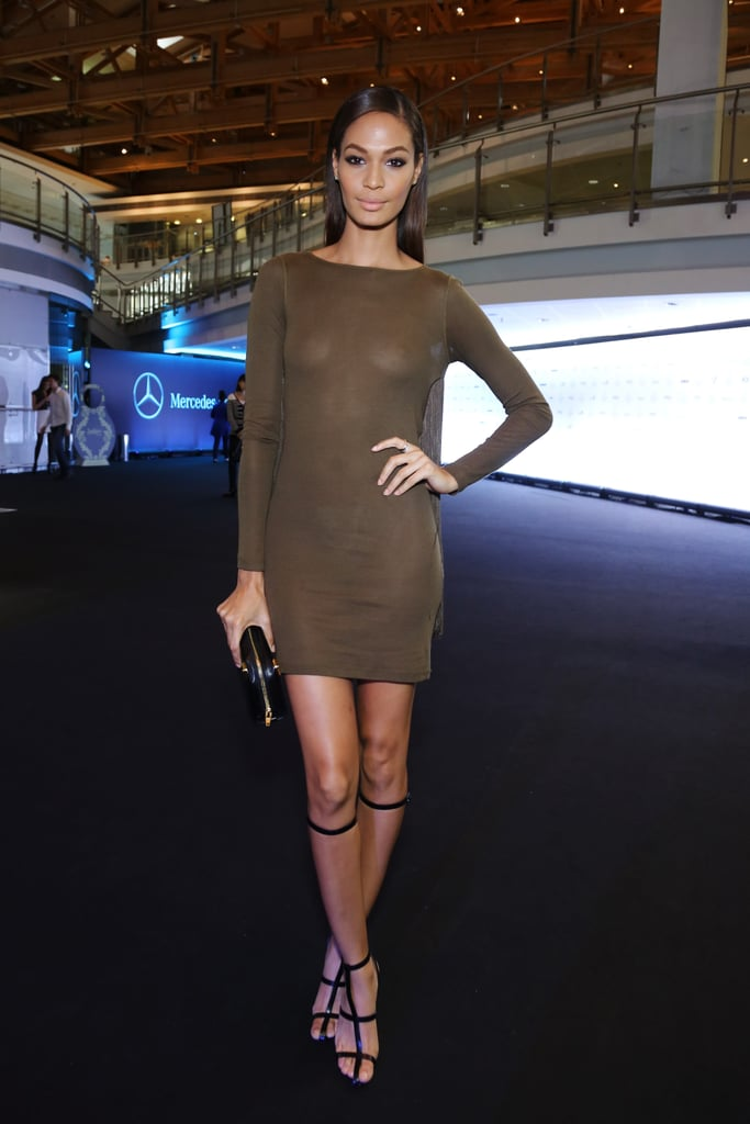 Joan Smalls wore a super-short, super-sheer minidress while in Russia this October.