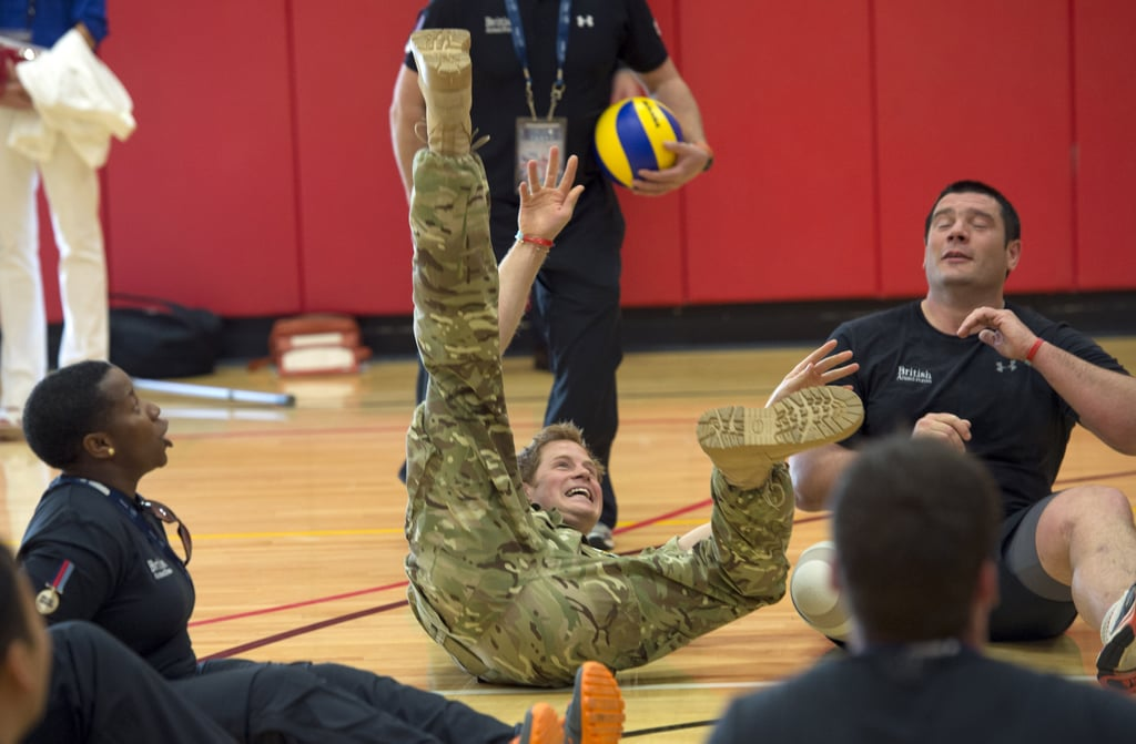 Prince Harry tumbled while trying to save a ball.