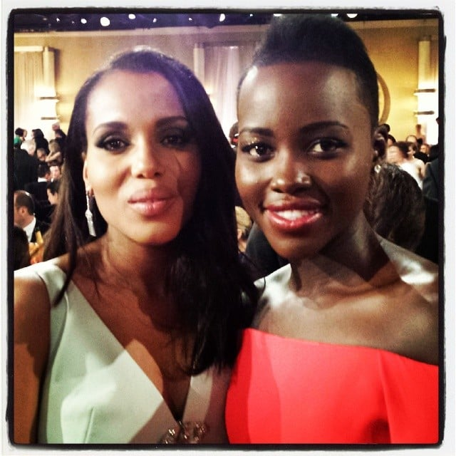 "Lupita Nyong'o posted this adorable Golden Globes snap with the caption, ""Meet and let @kerrywashington know that I am a #Gladiator - CHECK!"" Source: Instagram user lupitanyongo"