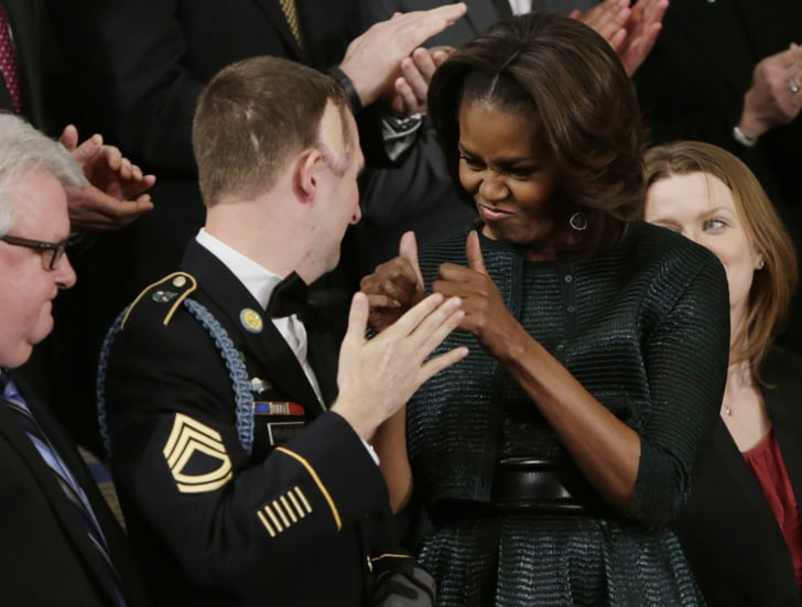 Michelle Obama gave a thumbs-up to US Army Ranger Sgt. First Class Cory Remsburg, who was injured while serving in Afghanistan.