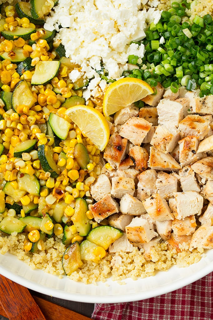 Zucchini, Corn, and Quinoa Bowls With Grilled Chicken and Lemon