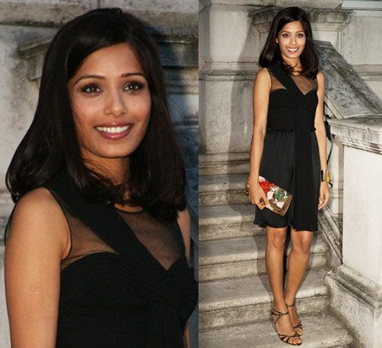 Photo of Freida Pinto Wearing Black Dress in London Promotion Slumdog Millionaire