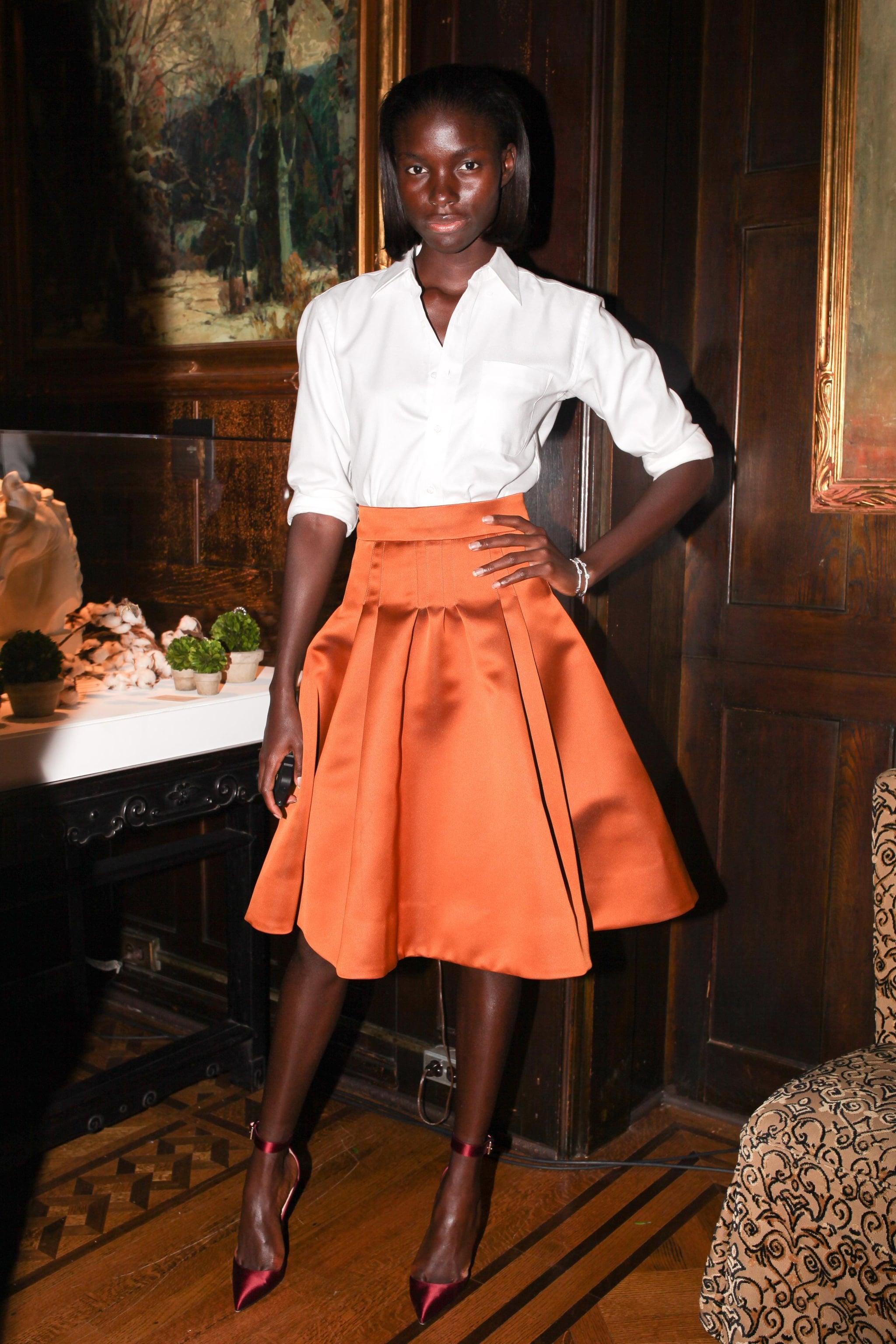 Jeneil Williams stepped out for Forevermark in a full, bright skirt.