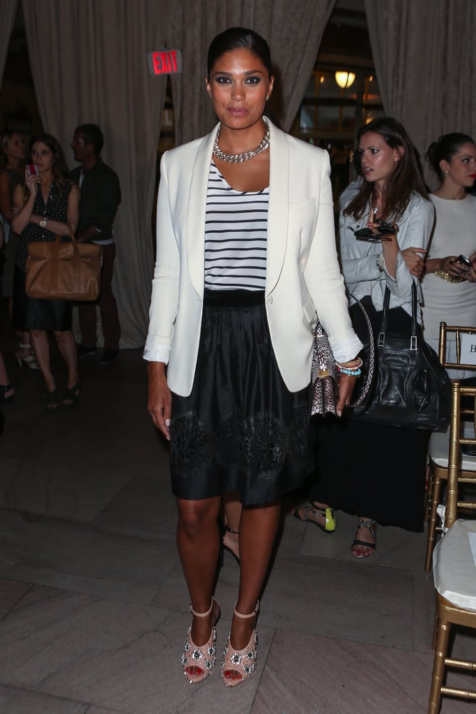 Rachel Roy added a white blazer and statement jewels to her stripes — plus a pair of her embellished, Spring '13 heels.