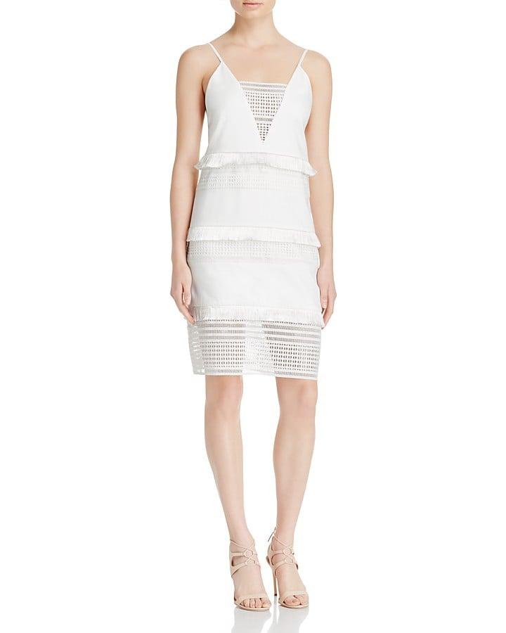 Three Floor White Desert Fringe & Geometric Eyelet Dress ($264)