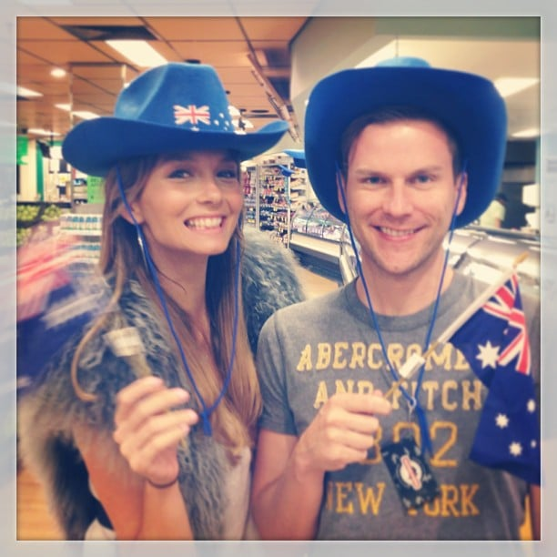 Ricki-Lee Coulter hit the supermarket decked out in Australian merchanise. Source: Instagram user therickilee