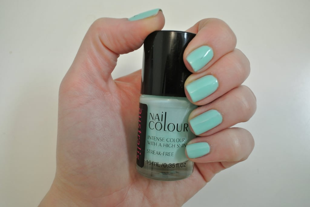 I applied base coat (this is important, it stops nails from getting stained), and then two coats of my sea blue/green nail polish. I let my nails dry completely for about 10 minutes.