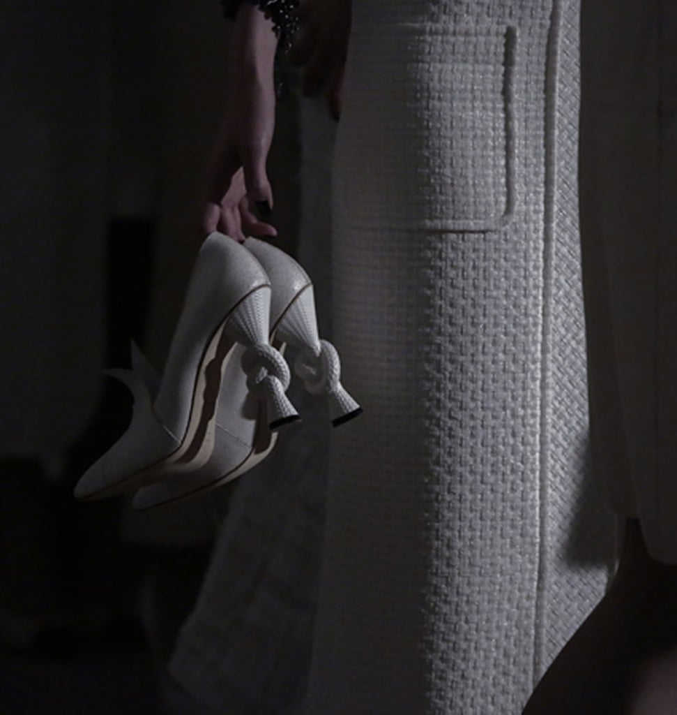 Statement heels courtesy of a thick knot. Source: Chanel