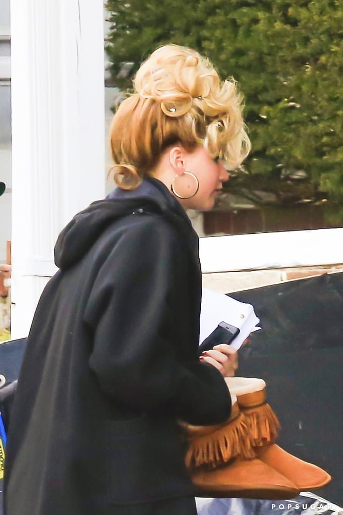 Jennifer Lawrence wore a crazy updo to hit her Boston set.