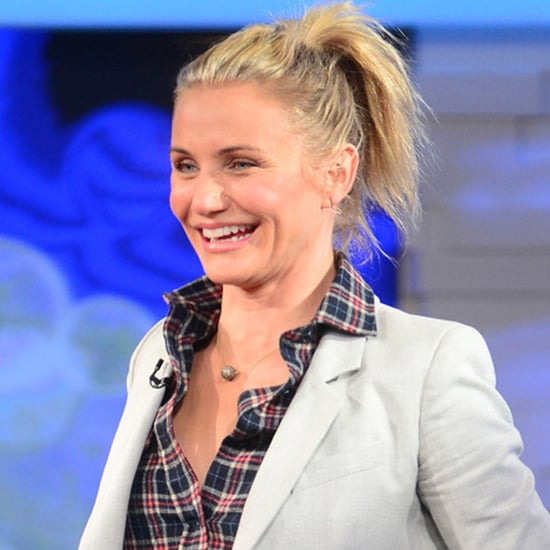 Cameron Diaz Plaid Shirt and Blazer Outfit | Video