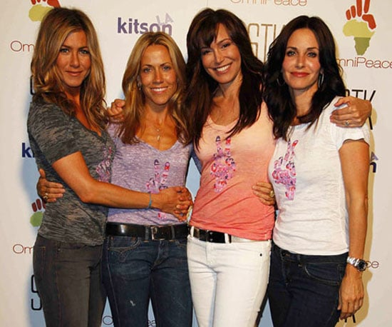 """Photo Slide of Jennifer Aniston, Sheryl Crow, Courteney Cox and OmniPeace Founder Mary Fanaro at a """"Stamp Out Violence"""" Event"""