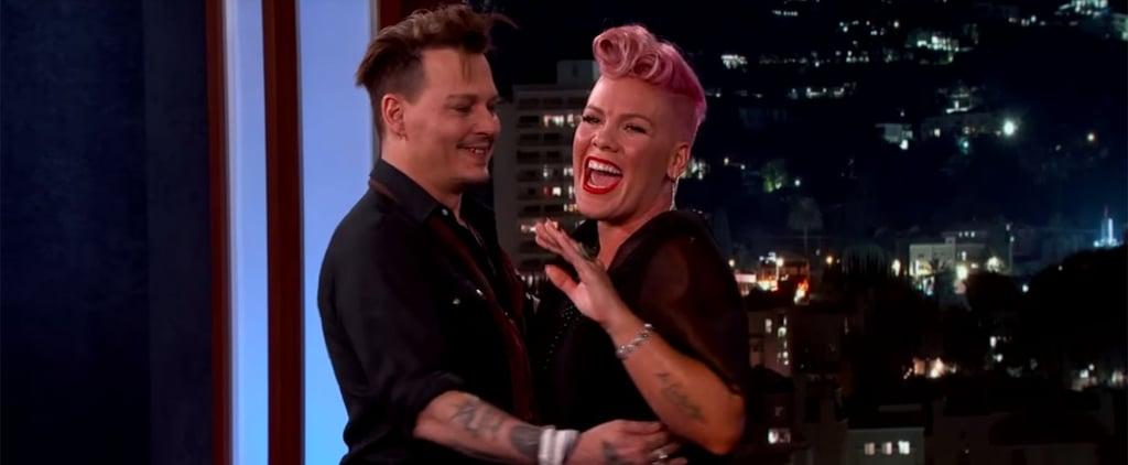 Pink Gets Adorably Flustered When Her Crush Johnny Depp Surprises Her on Kimmel