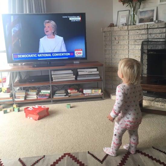 Little Girls Watching Hillary Accept Nomination at DNC