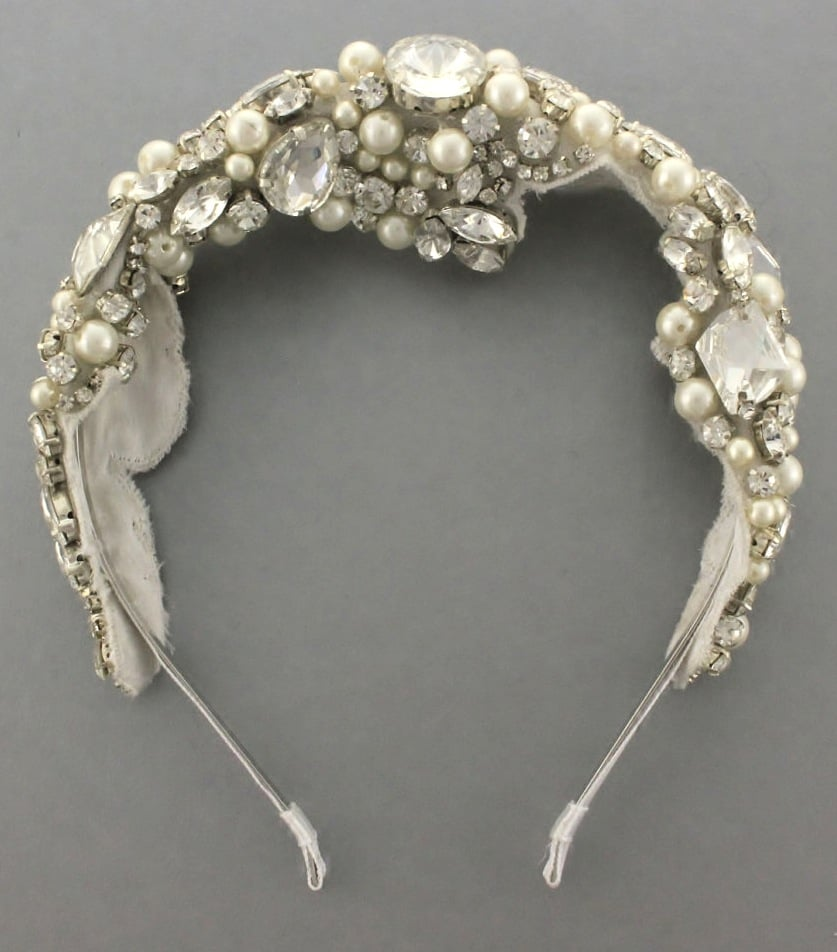 Wear this Camilla Christine Reagan beaded rhinestone headband ($178) with a veil for an extradramatic effect, or wear it by itself with your hair pulled back in a sleek bun.