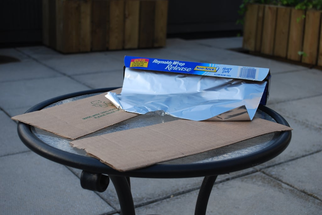 Create a propeller for the front of the plane using the smaller flaps from the original top of the box.