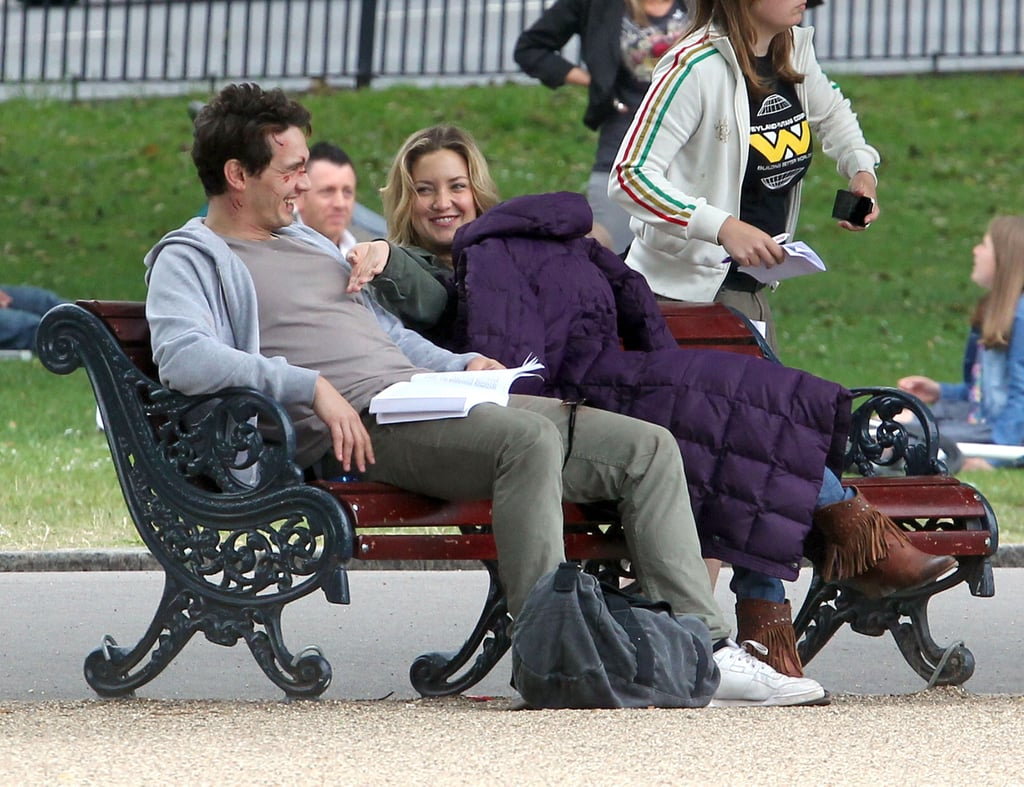 James Franco and Kate Hudson laughed while filming Good People in London.
